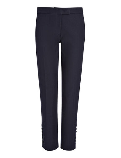 Gabardine Stretch Finley Button Trouser, in NAVY, large | on Joseph