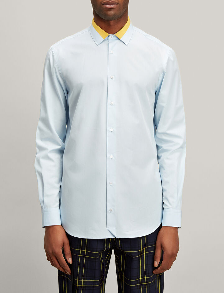 Joseph, Bi Colour Poplin John Shirt, in PALE BLUE