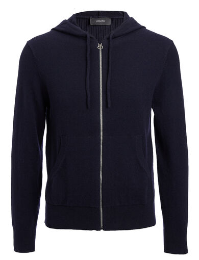 Mongolian Cashmere Hoody, in NAVY, large | on Joseph