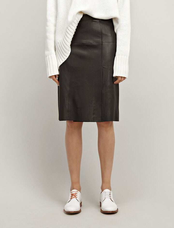 Joseph, Leather Stretch Evie Skirt, in BLACK