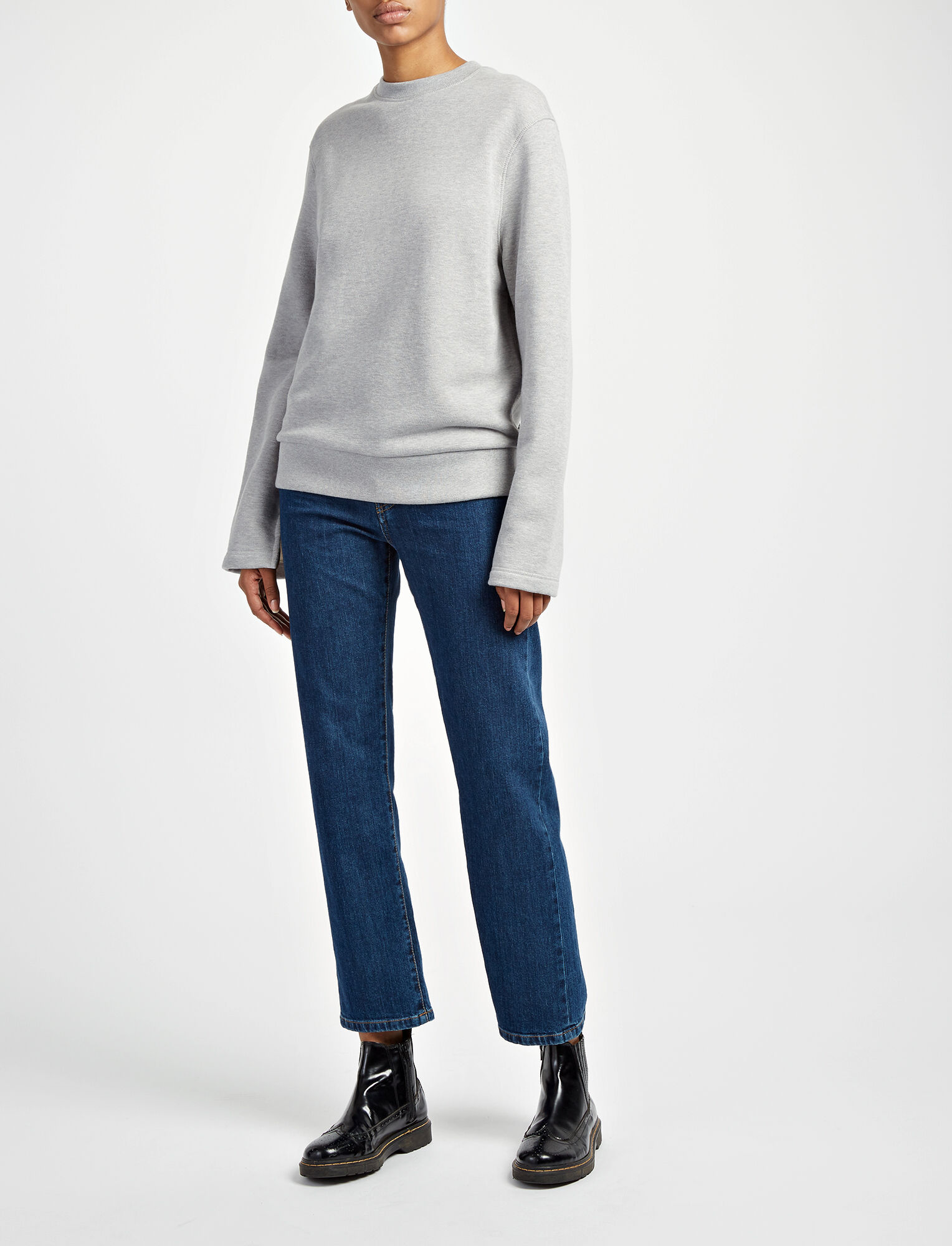 Loop Back Knot Sweater, in CONCRETE, large | on Joseph