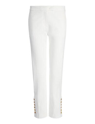 Gabardine Stretch Finley Button Trouser, in OFF WHITE, large | on Joseph
