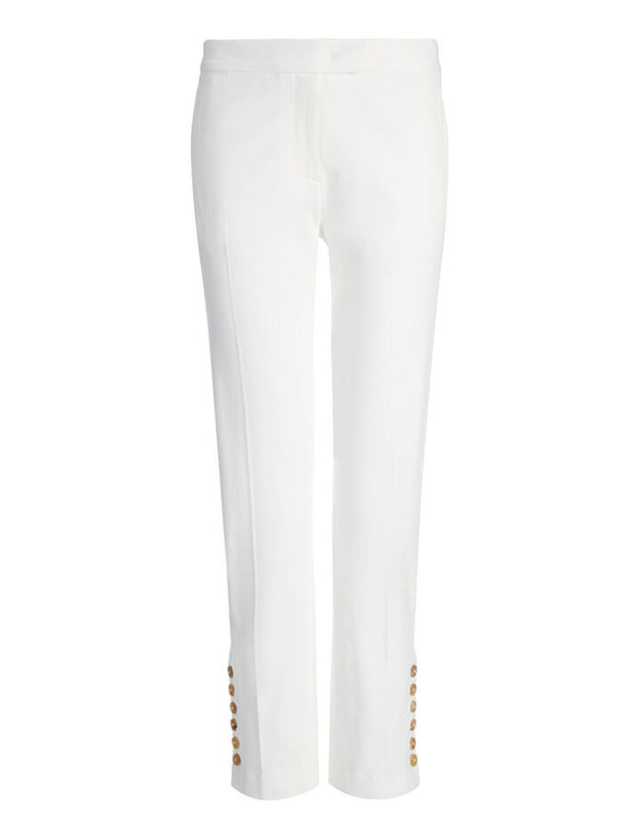 Gabardine Stretch Finley Button Trouser, in OFF WHITE, large | on Joseph