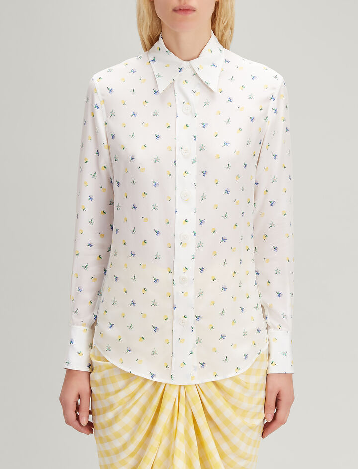 Joseph, Spring Bud Print Silk New Garcon Shirt, in WHITE