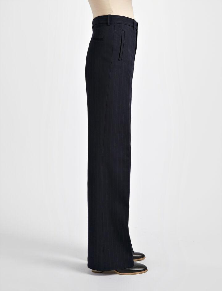 Pantalon Ferguson en gabardine stretch et jacquard, in NAVY, large | on Joseph
