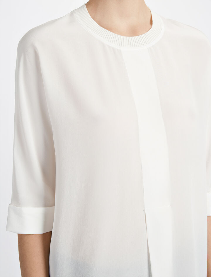 Crepe de Chine Caro Blouse, in OFF WHITE, large | on Joseph