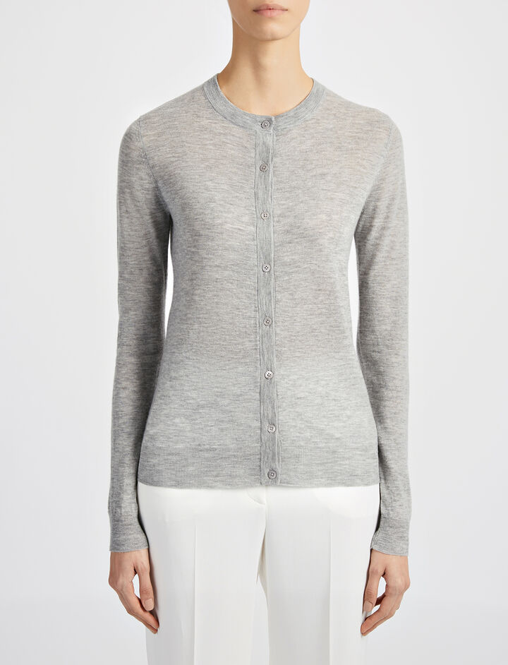 Cashair Cardigan, in GREY CHINE, large | on Joseph