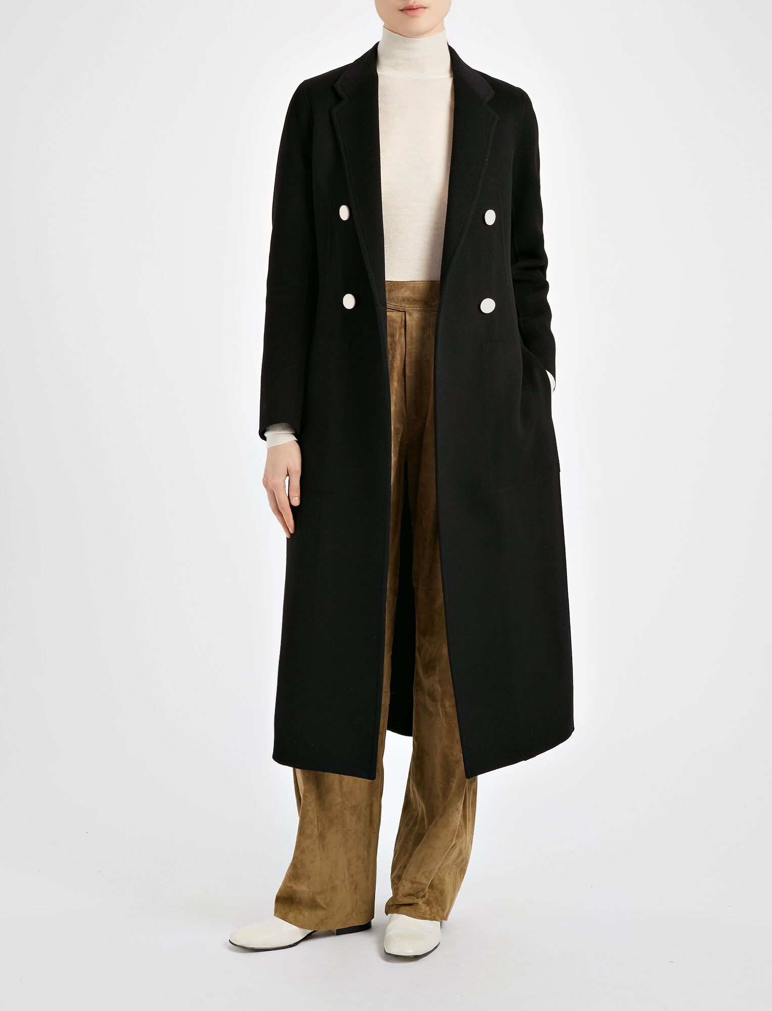 Joseph, Light Double Cashmere Bailey Coat, in BLACK