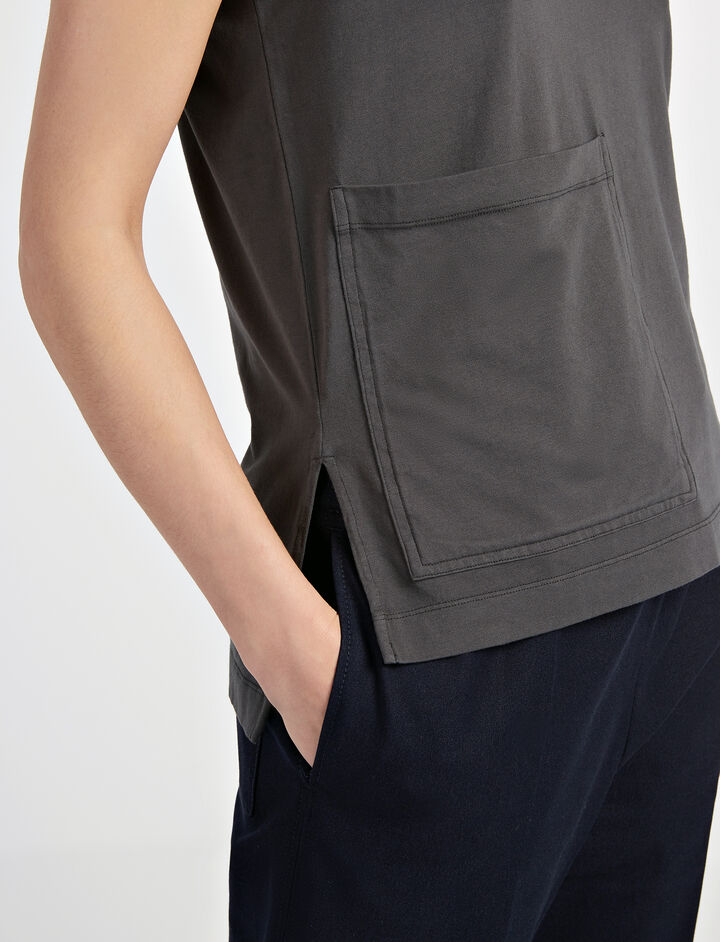 Garment Dyed Jersey Tank, in SMOKE, large | on Joseph