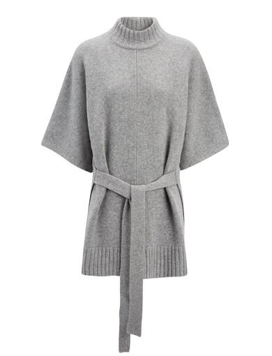 Cashmere Luxe Short Sleeve Sweater, in CONCRETE, large | on Joseph
