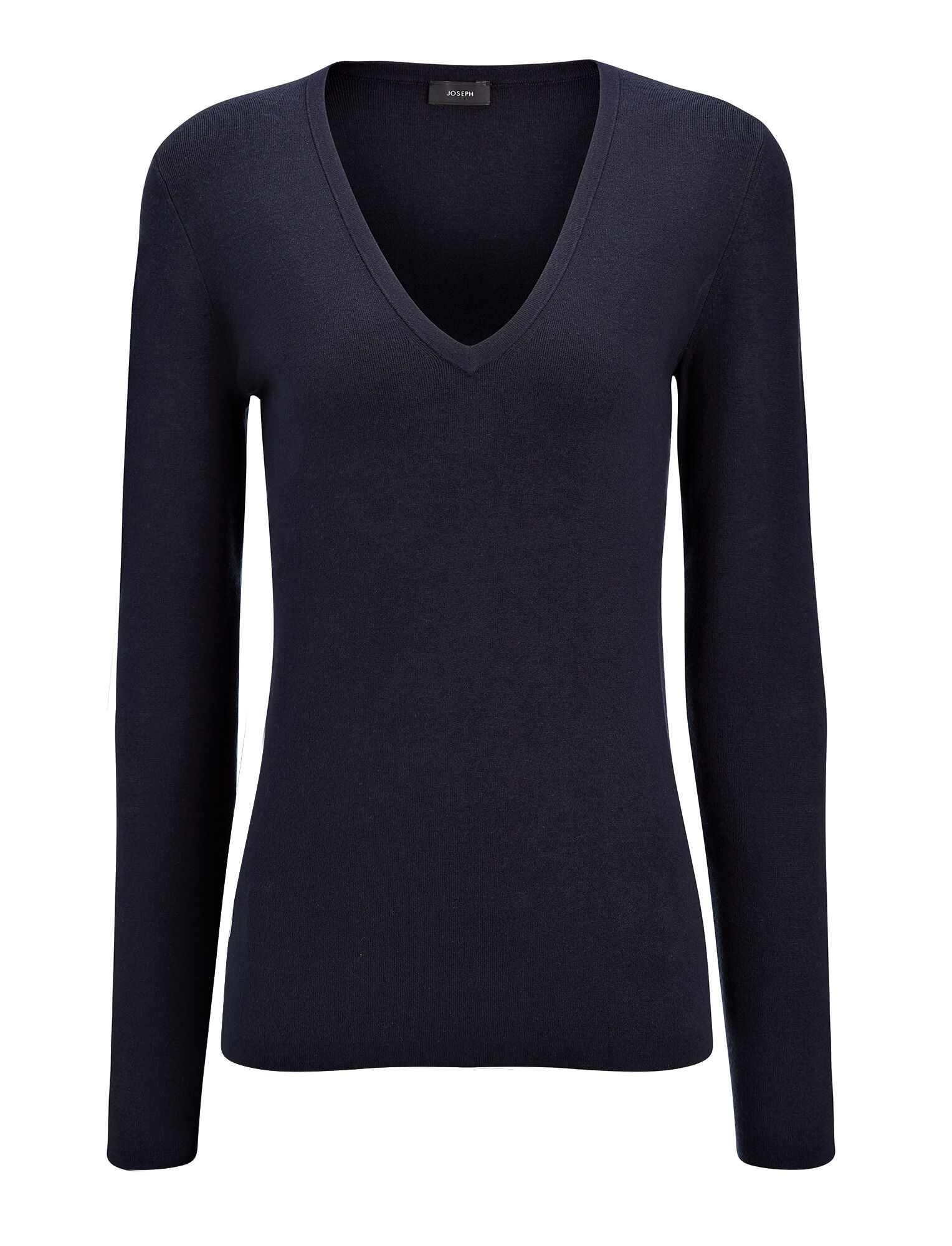 Haut col V en soie stretch, in NAVY, large | on Joseph