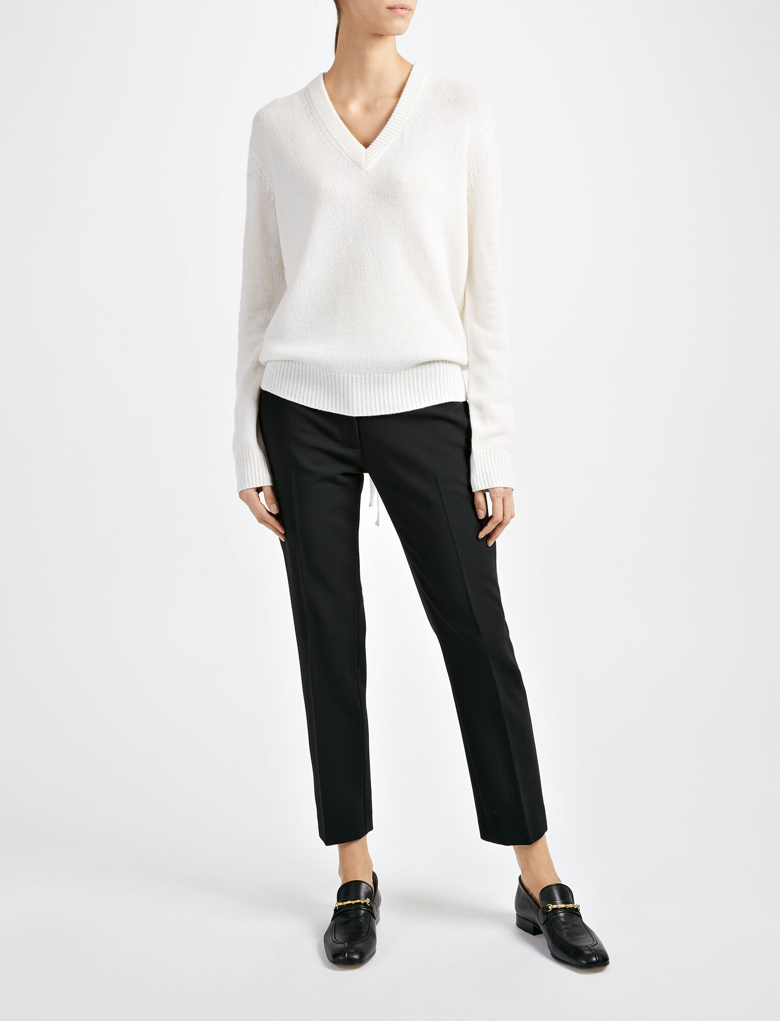 Open Cashmere V Neck Top, in CHALK, large | on Joseph