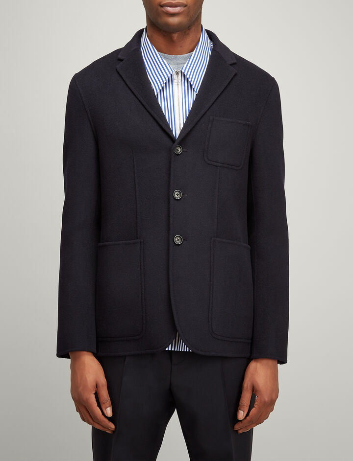 Double Wool Kerby Jacket, in NAVY, large | on Joseph