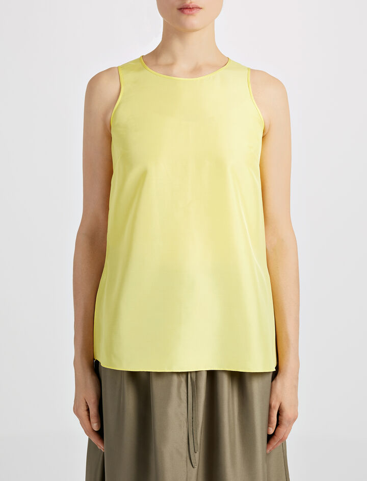 Habotai Brook Blouse, in LEMON, large | on Joseph