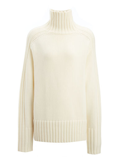 Chunky Knit High Neck Sweater, in BONE, large | on Joseph