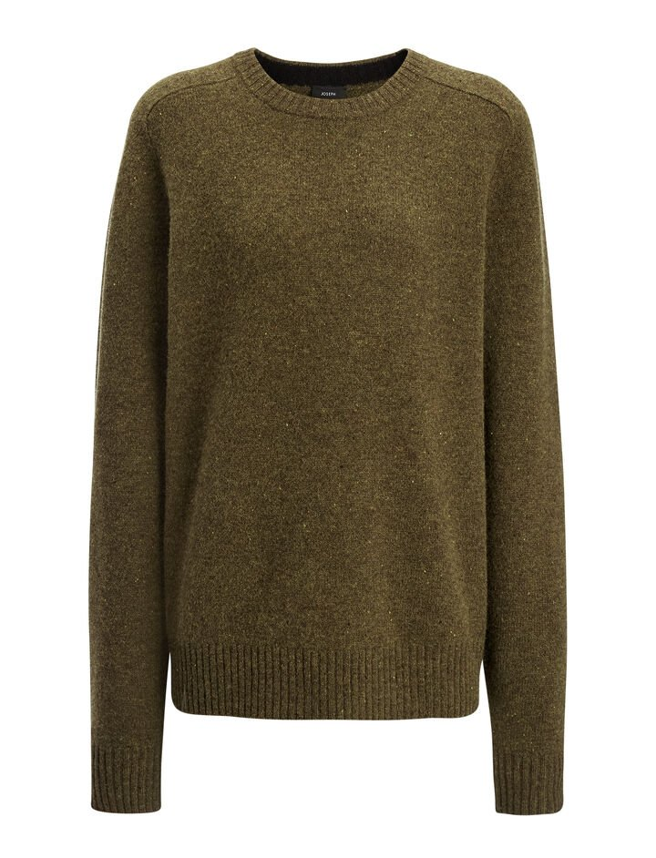 Pull en tricot de laine pure, in ARMY, large | on Joseph
