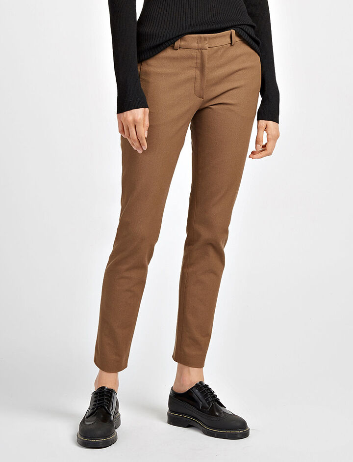 Gabardine Stretch New Eliston Trousers, in DARK FAWN, large | on Joseph