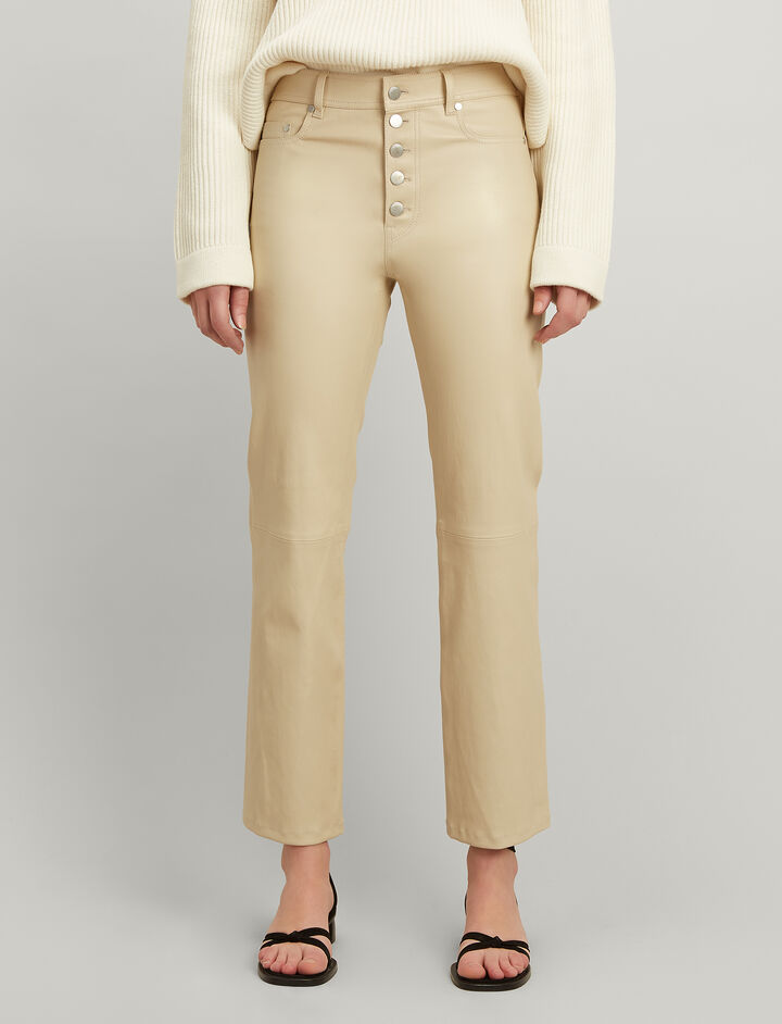 Leather Stretch Den Trousers, in BEIGE, large | on Joseph