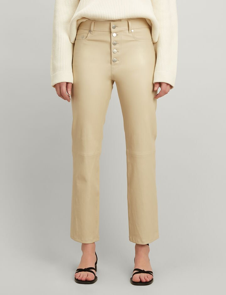 Joseph, Leather Stretch Den Trousers, in BEIGE