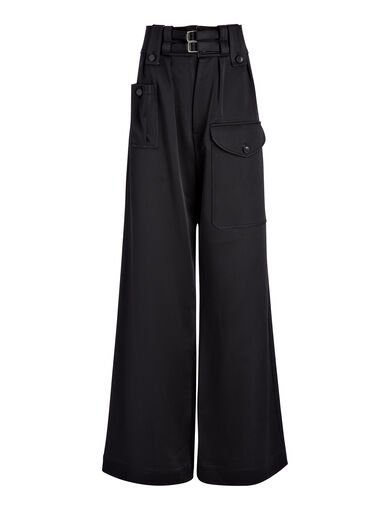 Pantalon Adams en double satin, in BLACK, large | on Joseph