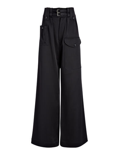 Double Satin Adams Trouser, in BLACK, large | on Joseph