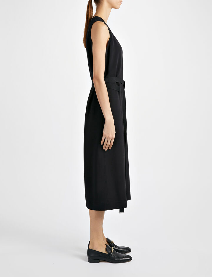 Viscose Stretch Maggie Dress, in BLACK, large | on Joseph