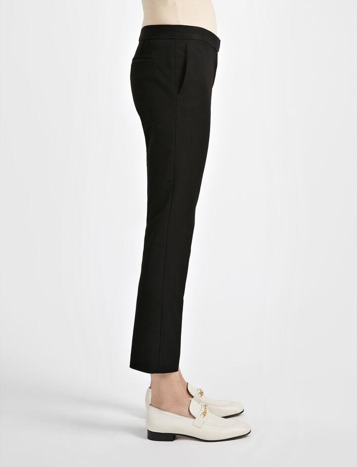 Pantalon Finley en gabardine stretch, in BLACK, large | on Joseph