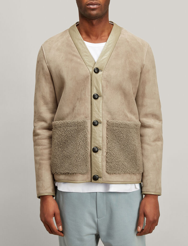 Shearling Highland Jacket, in GREY, large | on Joseph