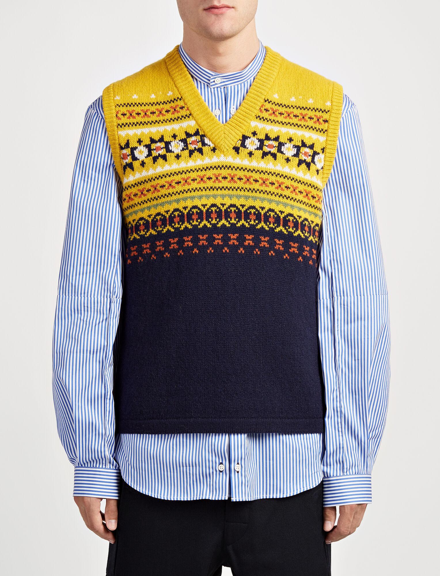 Fair Isle Knit V Neck Sleveless Sweater in Yolk | JOSEPH