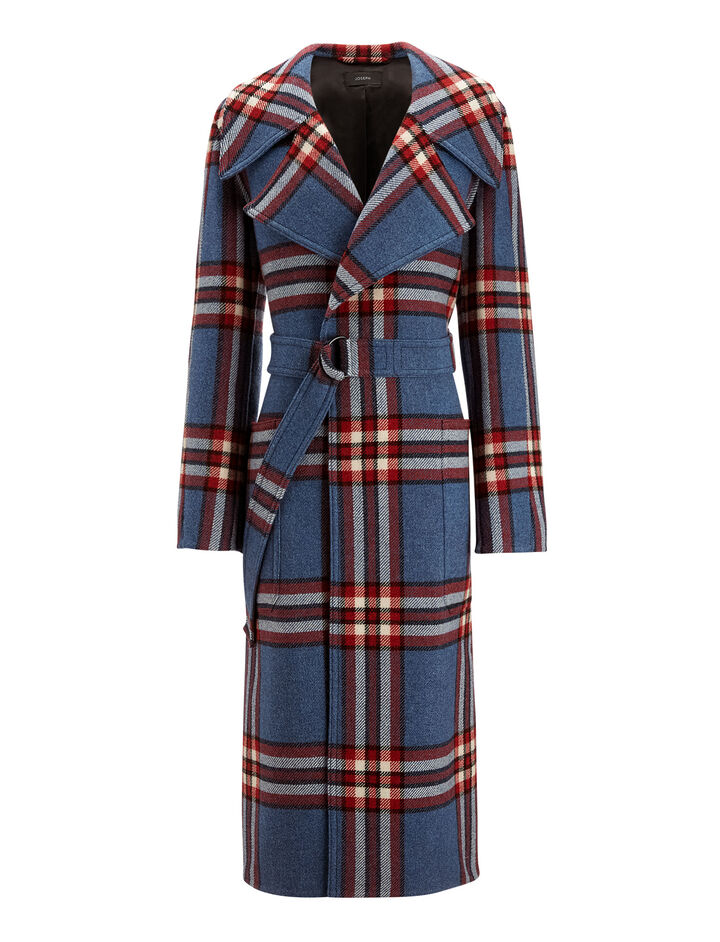 Joseph, Teodor Large Military Check Coat, in NAVY