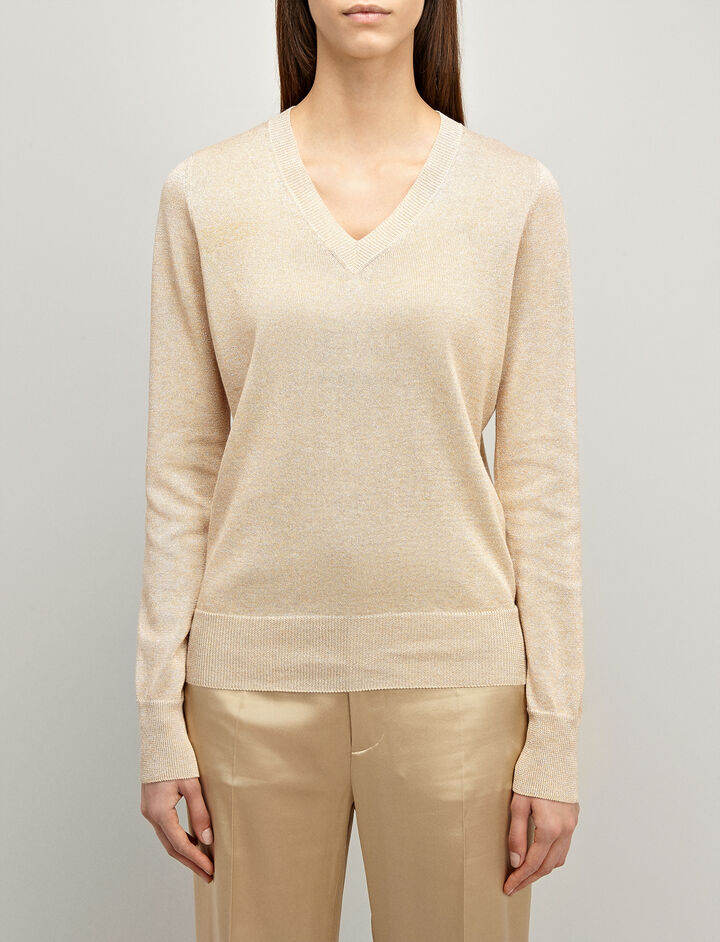 Lurex Knit V Neck Sweater, in STUCCO, large | on Joseph