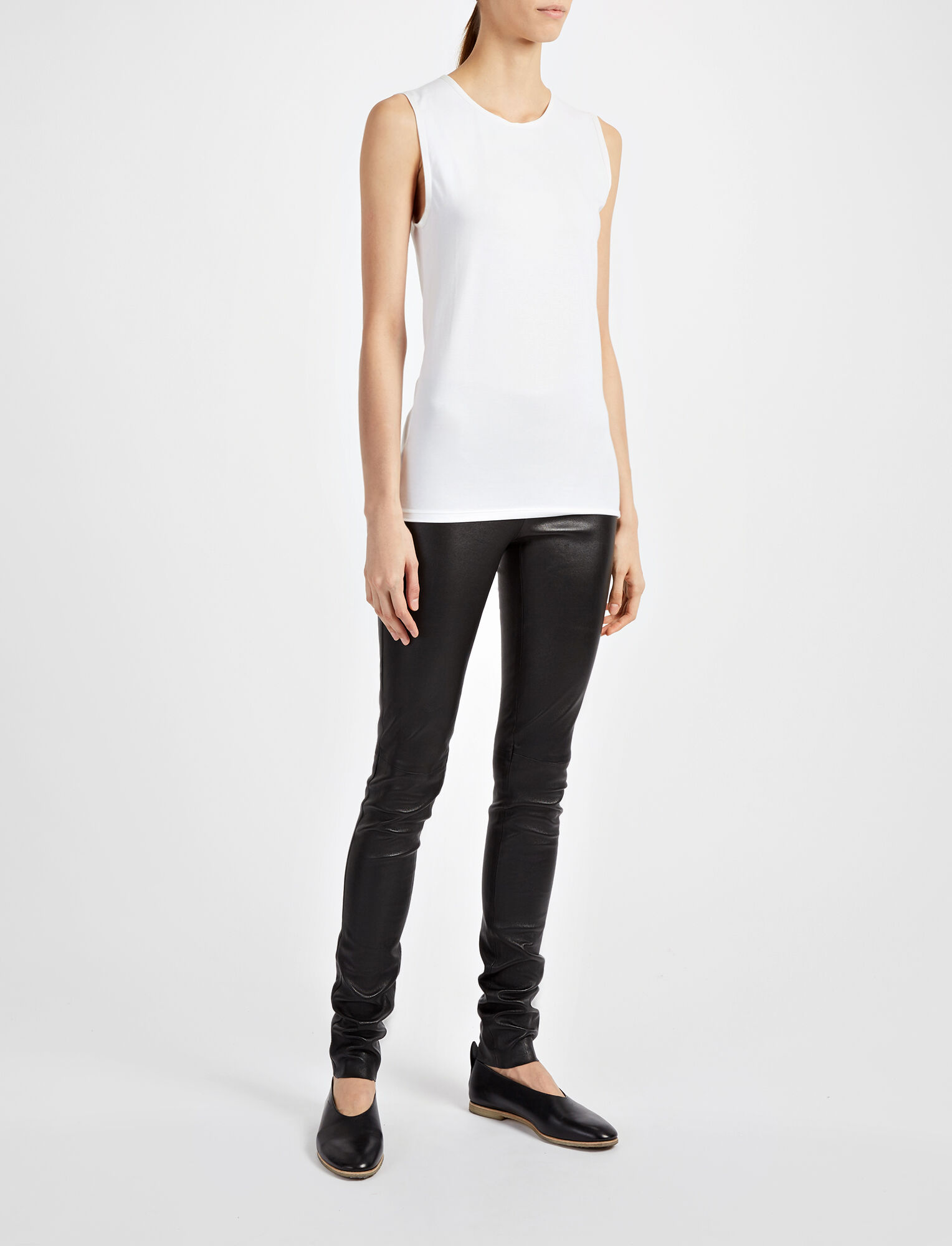 Cotton Lyocell Stretch Tank, in OFF WHITE, large | on Joseph