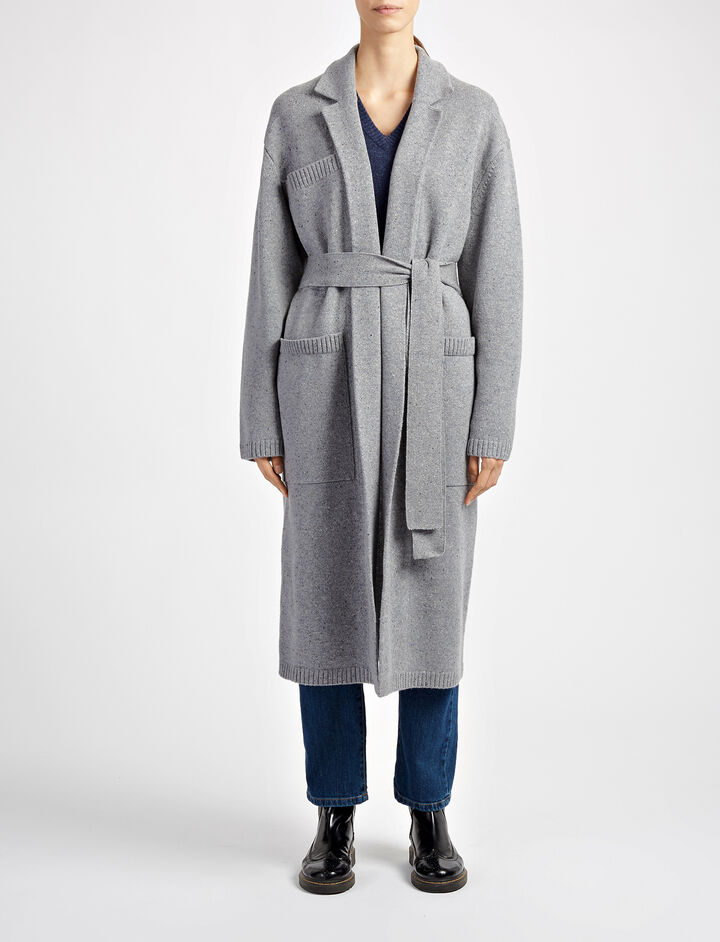 Manteau en tricot de laine pure, in GRAPHITE, large | on Joseph