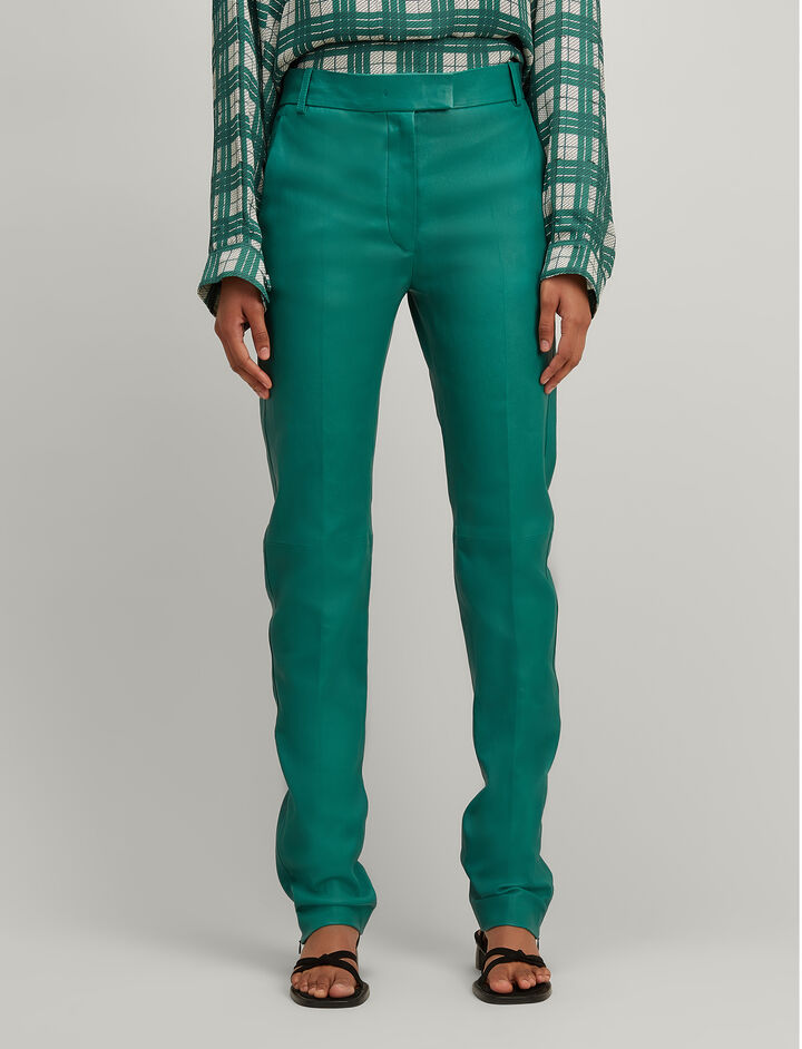 Stretch Leather Reeve Trousers, in EMERALD, large | on Joseph