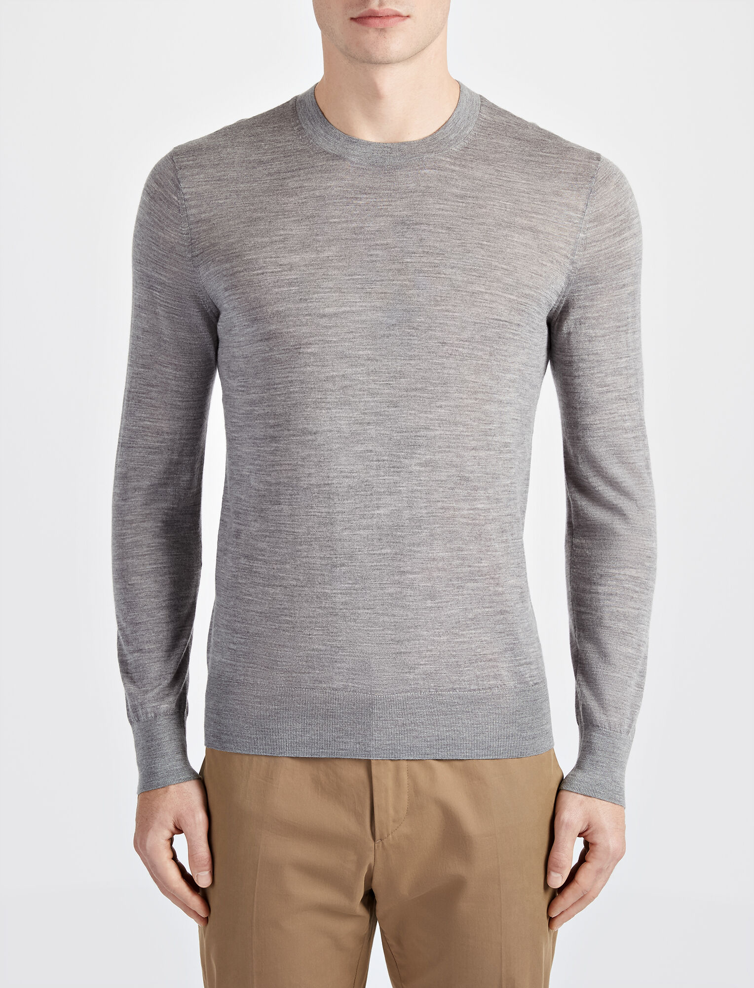 Joseph, Light Merinos Sweater, in GREY CHINE