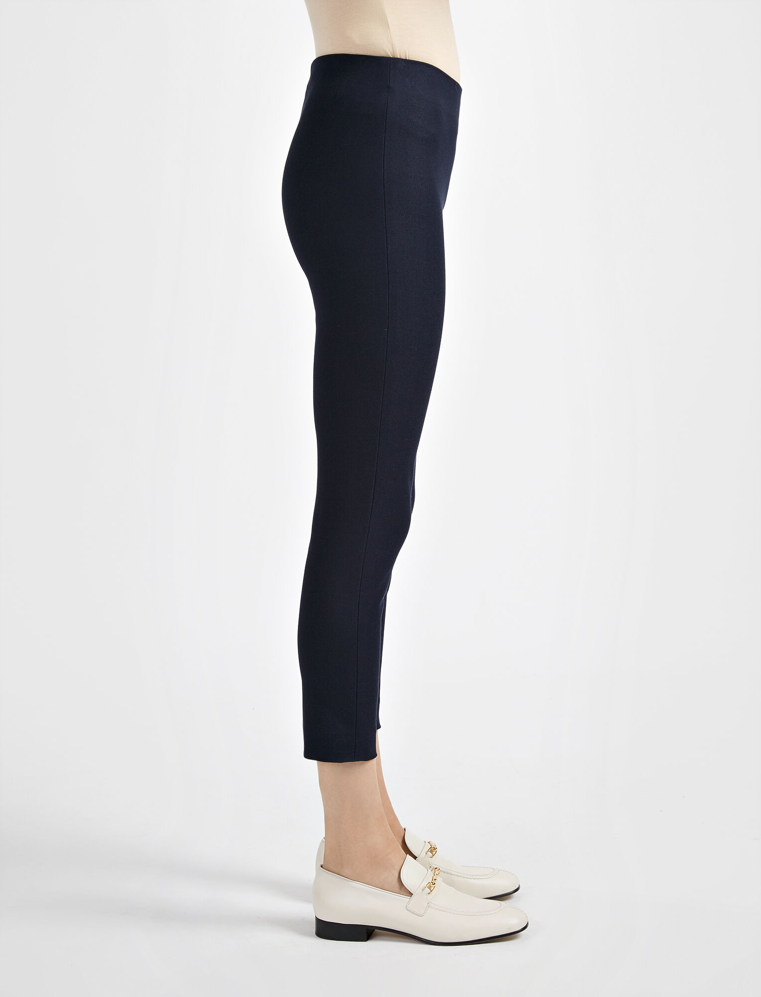 Gabardine Stretch New Tony Cropped Trouser, in NAVY, large | on Joseph