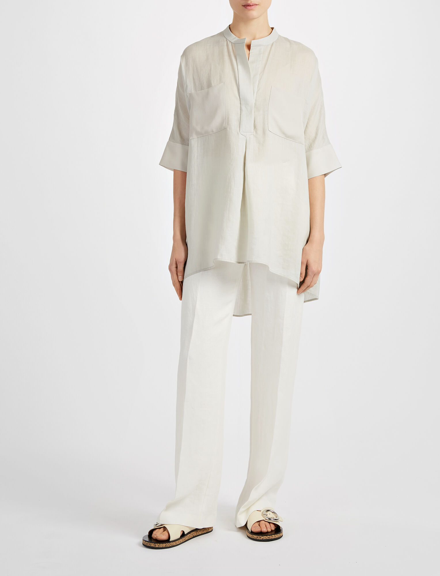 Ramie Voile Heather Blouse, in COCONUT, large | on Joseph