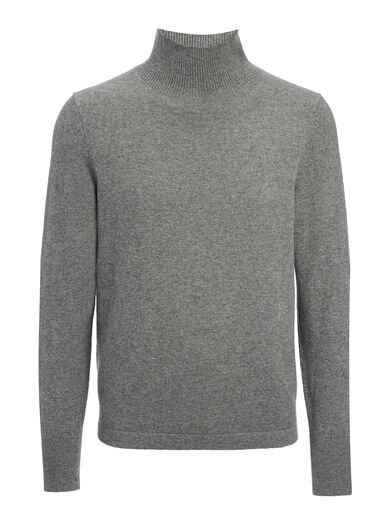 Mongolian Cashmere Roll Neck Sweater, in GRAPHITE, large | on Joseph