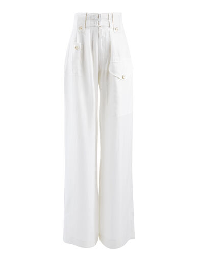 Pantalon Adams en soie parachute, in WHITE, large | on Joseph