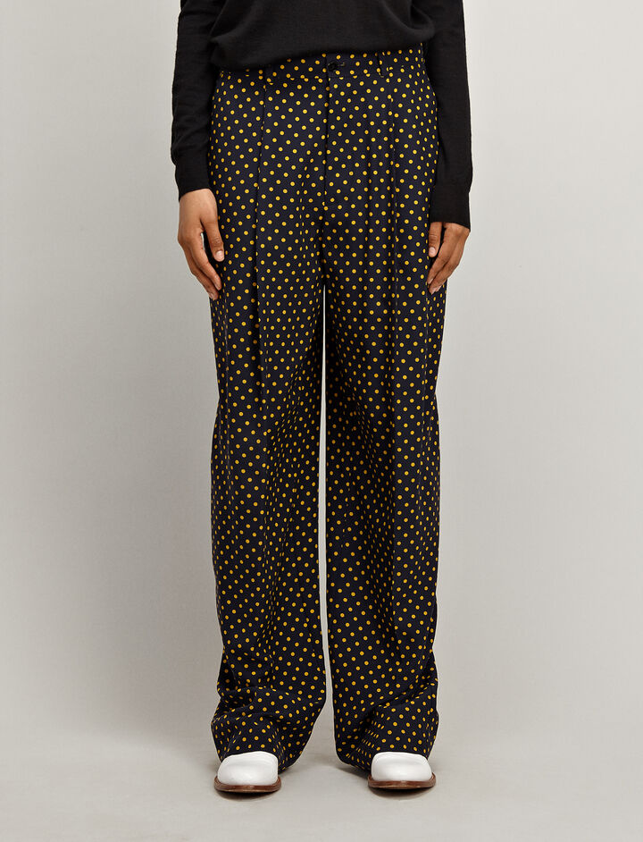 Joseph, Spot Silk Toile Riska Trousers, in NAVY