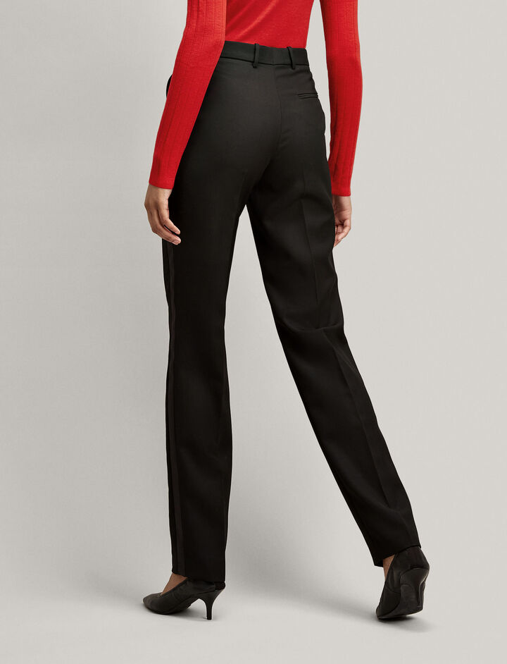 Joseph, Grain de Poudre Fever Tuxedo Trousers, in BLACK