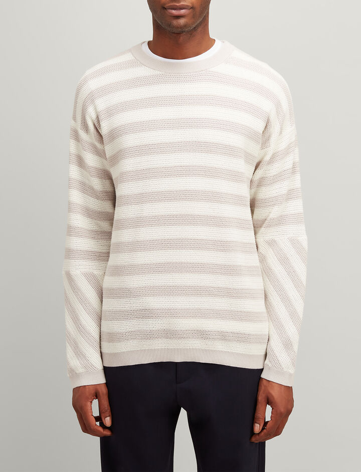 Joseph, Cotton Pique Stripe Sweater, in GREY/ECRU