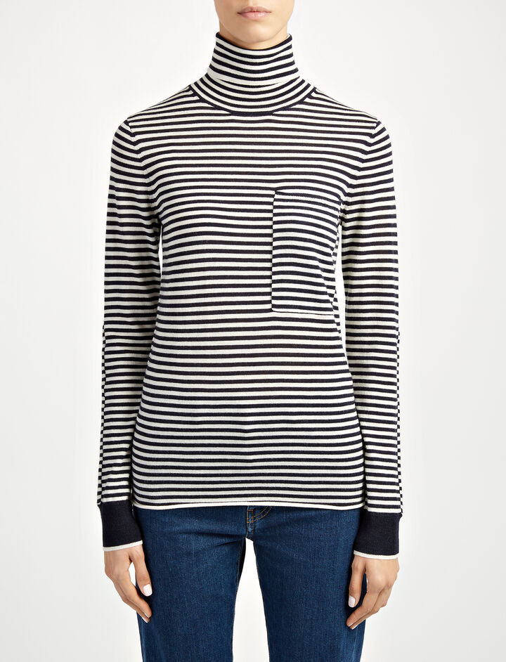 Fine Merinos Stripe Roll Neck Sweater, in ECRU/NAVY, large | on Joseph