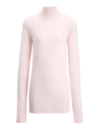 Basic Fine Merinos High Neck Sweater, in BUBBLE GUM, large | on Joseph