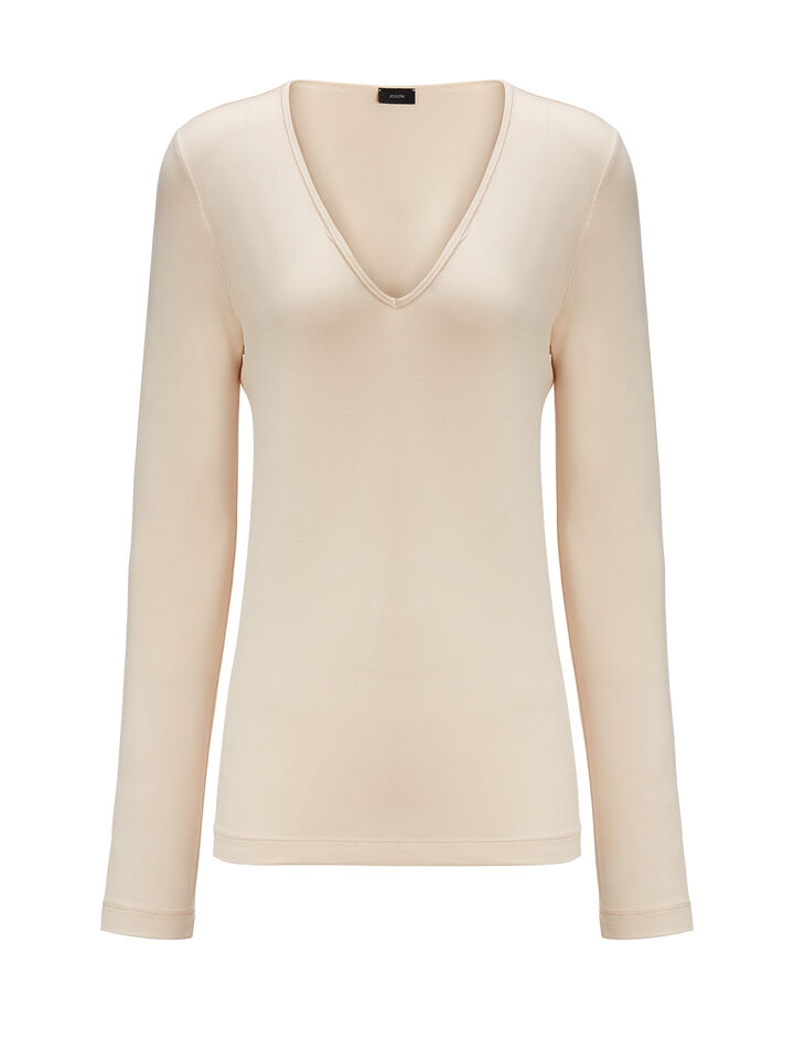Joseph, Stretch Jersey V Neck Tee, in PEARL