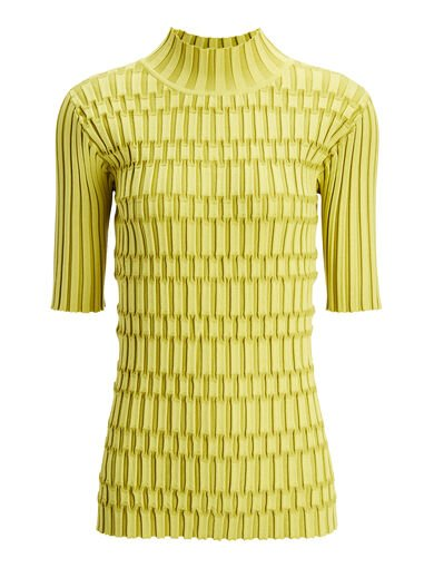 Plaited Nylon Rib Tee, in LEMON, large | on Joseph
