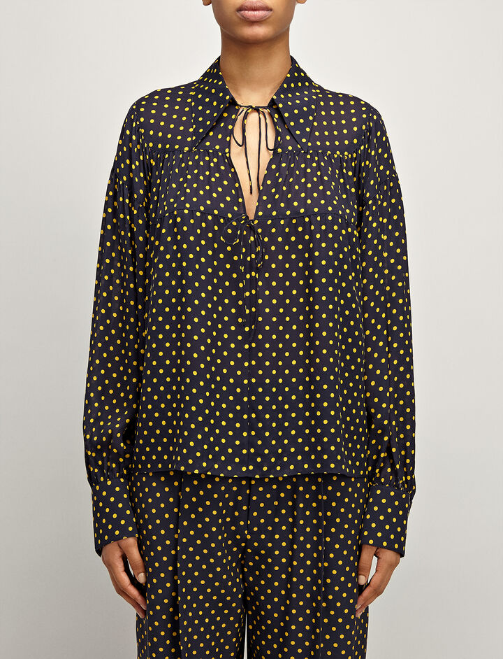 Spot Georgette Crosby Blouse, in NAVY, large | on Joseph