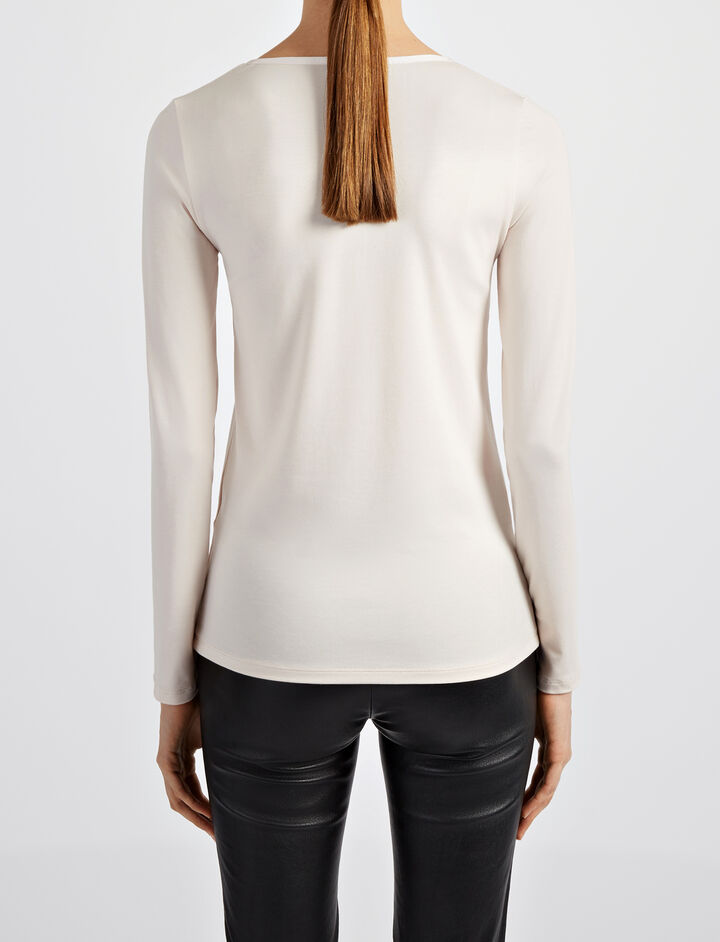 Cotton Lyocell Stretch V Neck Top, in HINT OF PEARL, large   on Joseph