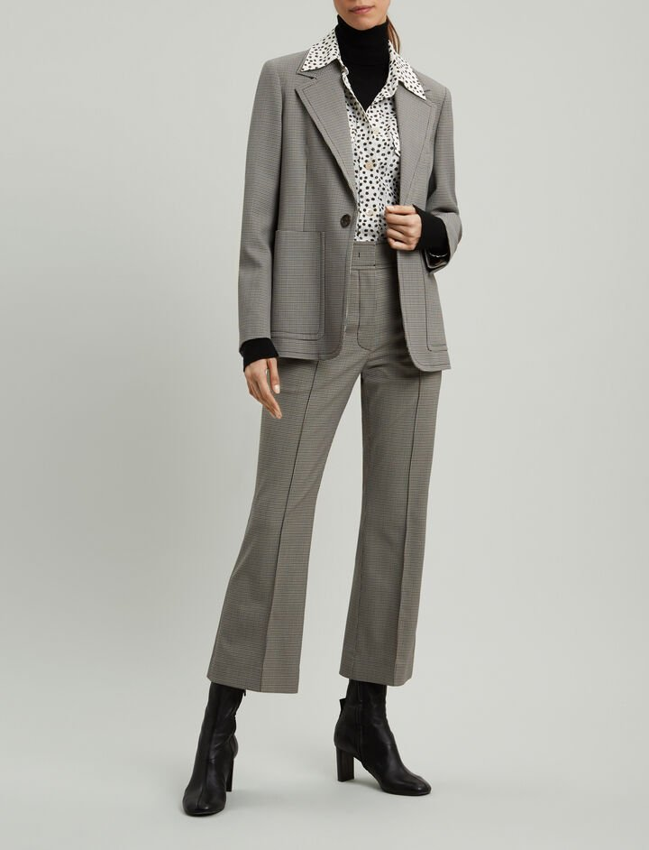Joseph, Annab Mini Dogtooth Suiting Jacket, in BEIGE