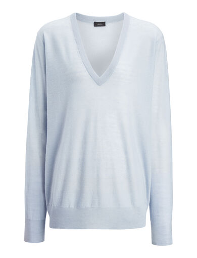 Cashair V Neck Sweater, in POWDER BLUE, large | on Joseph